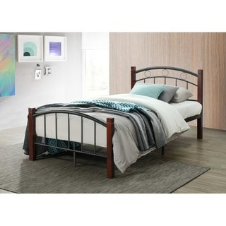 Hodedah Complete Metal Bed with Headboard, Footboard and Mahogany Wood Posts