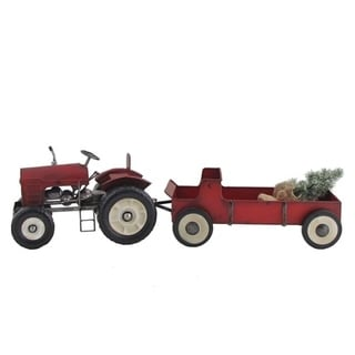 Red Tractor and Wagon Set with Christmas Tree
