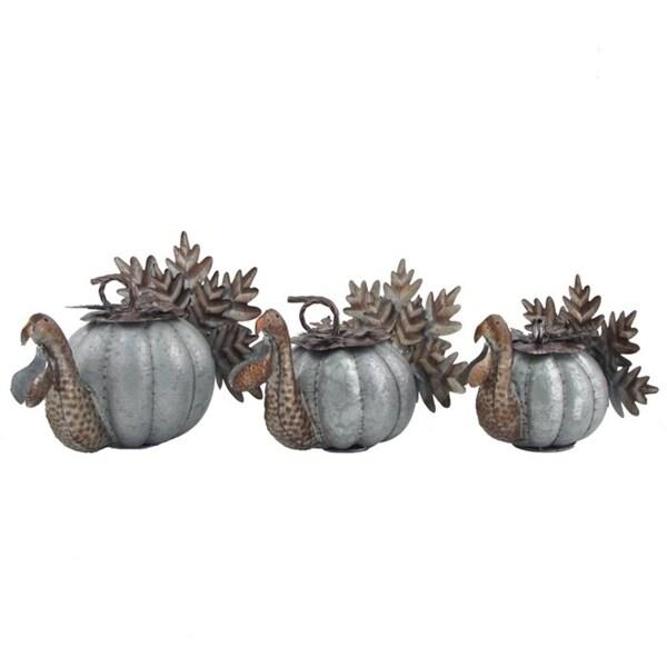 Set of 3 Galvanized Turkey Pumpkin Baskets