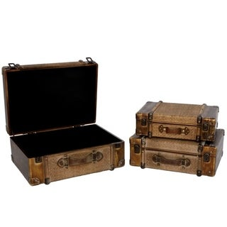 Set of 3 Darkened Bamboo Finished Suitcase Décor - Brown