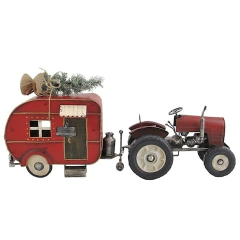 Red Tractor and Camper Set with Christmas Tree