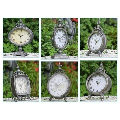 Set of 6 French Inspired Antique Table Top Clocks - Medium