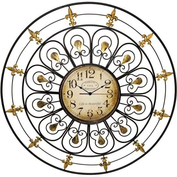 Large Classic Iron Wall Clock in Black and Gold. Opens flyout.