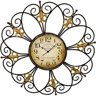 Porch & Den Hackett Black and Gold Large Classic Iron Wall Clock