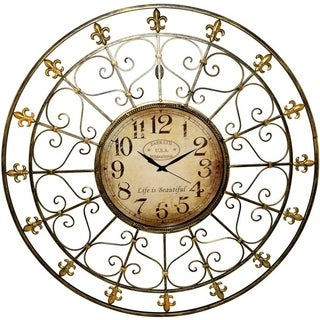 Large Classic Iron Wall Clock in Black and Gold