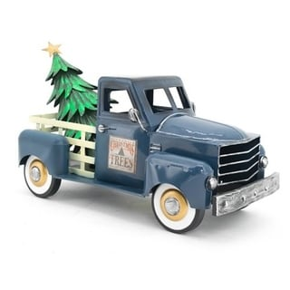 Small Truck with Christmas Tree in Blue