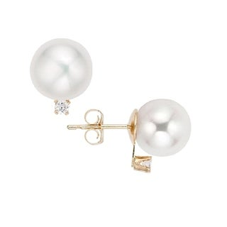 Pearlyta 14k Yellow Gold Round Freshwater Pearl (5-5.5mm) and 2ct TDW Diamond Stud Earrings for Babies/Chidren