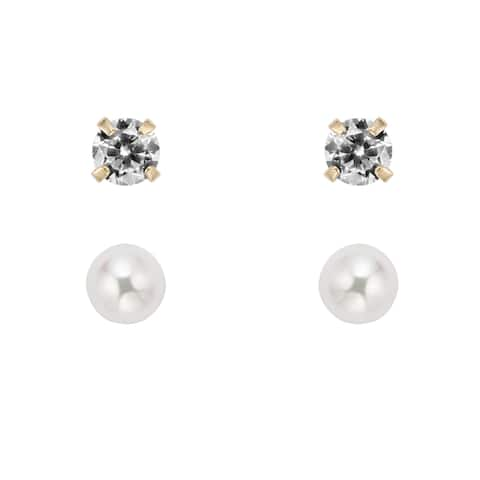 Pearlyta 14k Gold Cubic Zirconia Stud and Freshwater Pearl Earring Set with Gift Box (5-6 mm) - White