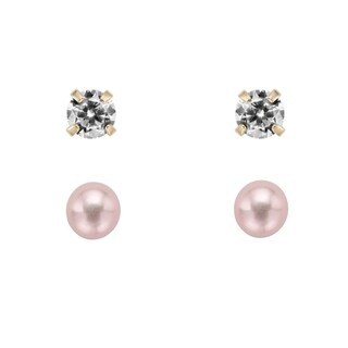 Pearlyta 14k Gold Cubic Zirconia Stud and Freshwater Pearl Earring Set with Gift Box (5-6 mm) - Pink