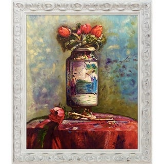 Edouard Vuillard 'Anemones in a Chinese Vase' Hand Painted Oil Reproduction