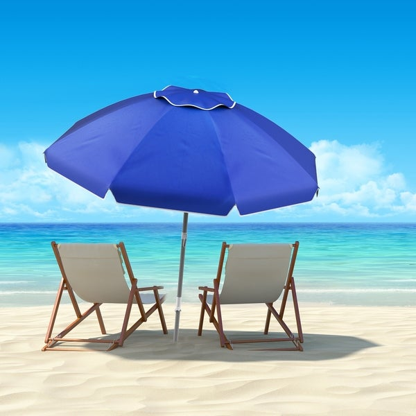 7ft Portable Beach Umbrella with 360 Degree Tilt by Pure Garden, Sand Anchor Included. Opens flyout.