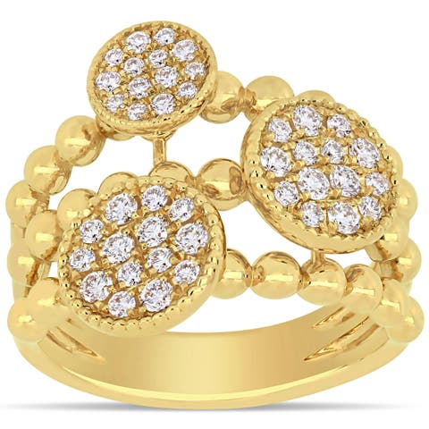 Miadora 14k Yellow Gold 1/2ct TDW Diamond Floral Cluster Circle Crossover Ring