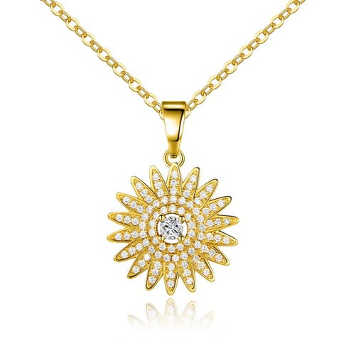Gold Plated Swarovski Made with Crystal Rising Sun Pendant Necklace