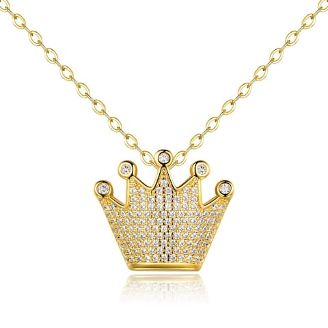 Gold Plated Swarovski Made with Crystal Crown Pendant Necklace