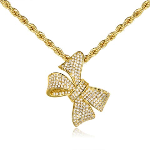 Gold Plated Cubic Zirconia Bow Tie Pendant Necklace