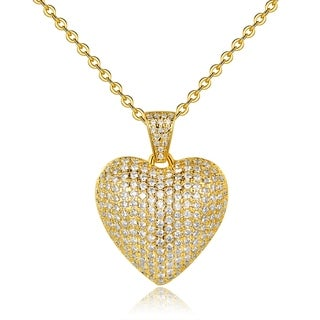 Gold Plated Cubic Zirconia Heart Pendant Necklace