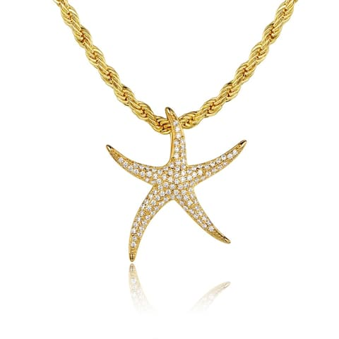 Gold Plated Swarovski Made with Crystal Starfish Pendant Necklace