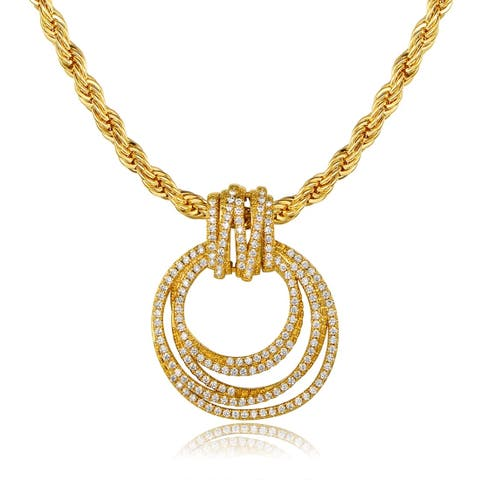 Gold Plated Cubic Zirconia Pendant Necklace