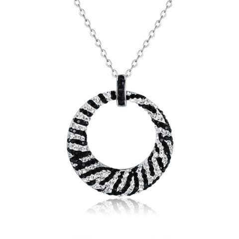 Rhodium Plated Zebra Print Swarovski Crystal Pendant Necklace