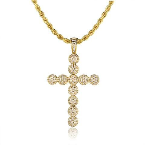 Gold Plated Swarovski Made with Crystal Cross Pendant Necklace