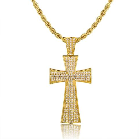 Gold Plated Cubic Zirconia Cross Pendant Necklace
