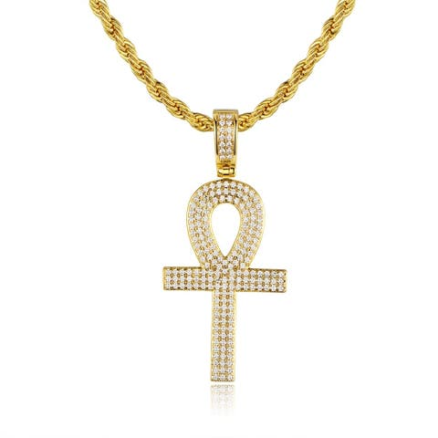 Gold Plated Swarovski Made with Crystal Ankh Pendant Necklace