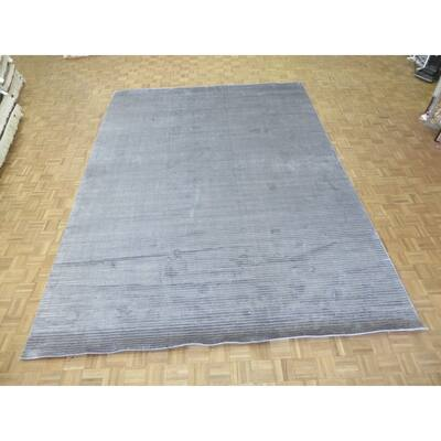 """Hand Knotted Gray Tibetan with Bamboo Silk Oriental Rug (10'2"""" x 13'11"""") - 10'2"""" x 13'11"""""""