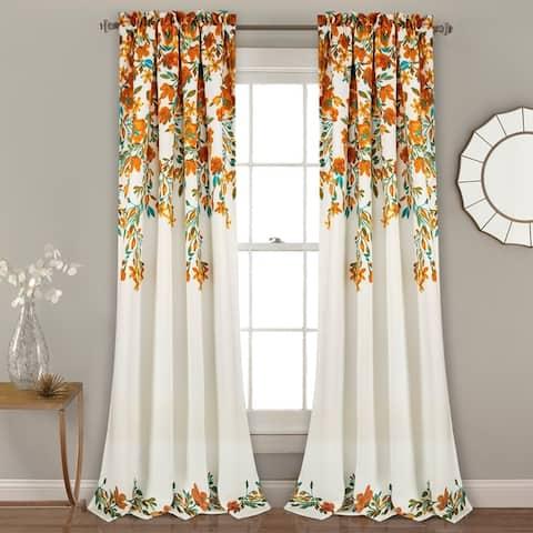 Porch & Den Elcaro Floral Pattern Room Darkening Window Curtain Panel Pair