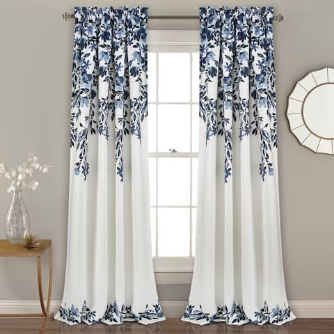 Porch & Den Elcaro Floral Pattern Room Darkening Window Curtain Panel Pair