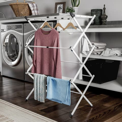 Clothes Drying Rack  3 Tiered Expandable Free Standing Laundry Sorter with Rust Resistant Metal Frame by Lavish Home