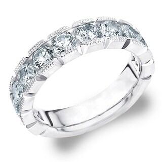 1.5 CT Milgrain Lab Grown Diamond Ring in White Gold, E-F / VS