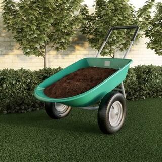 2-Wheeled Garden Wheelbarrow  Large Capacity Rolling Utility Dump Cart for Residential DIY Lawn Care by Pure Garden