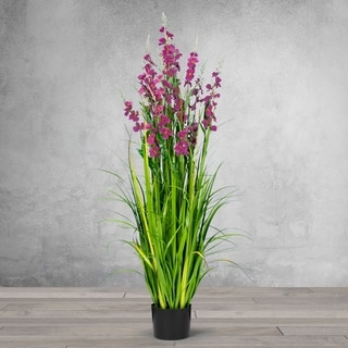 5 Feet High Artificial Reed with Decorative Dark Mauve Flowers - Black