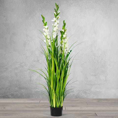 5 Feet High Artificial Red with Decorative White Flowers and Crystal - Black