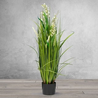 3 Feet High Artificial Reed with White Snapdragon Similar Flowers - Black
