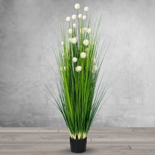 4.75 Feet High Artificial Reed with Decorative White Balls - Black