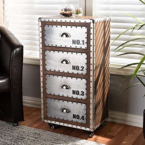 French Industrial 4-Drawer Rolling Chest