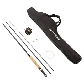 Fly Fishing Pole  3 Piece Collapsible 97-Inch Fiberglass and Cork Rod and Ambidextrous Reel Combo by Wakeman Outdoors