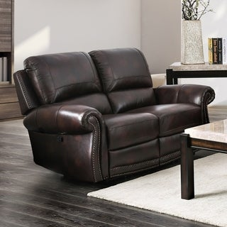 Copper Grove Suhindol Leather Reclining Loveseat