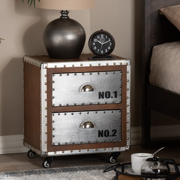 French Industrial 2-Drawer Rolling Nightstand