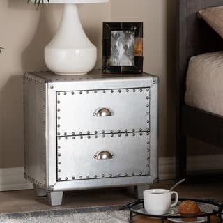 French Industrial 2-Drawer Nightstand
