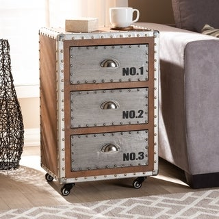French Industrial 3-Drawer Rolling Nightstand