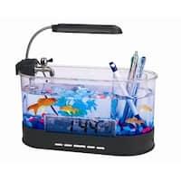 Modern Home USB Desktop Aquarium with Light/Clock Organizer