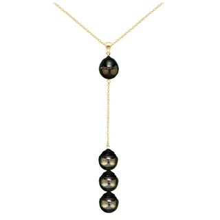DaVonna 14k Gold Baroque Tahitian Cultured Pearl Y Chain Necklace 18 inch 8-9mm