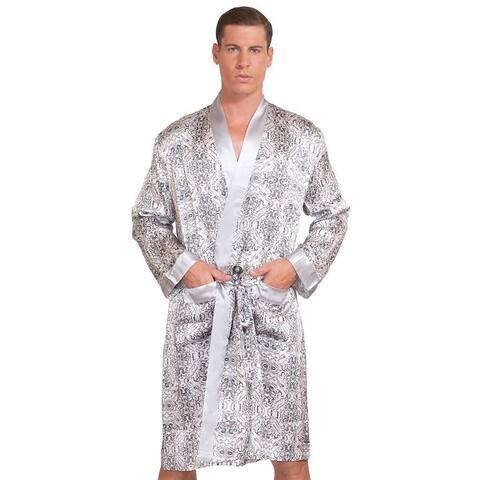 fada7a00b5e MYK SILK - Men's Mulberry Silk Robe Printed Bath Sleepwear Classic