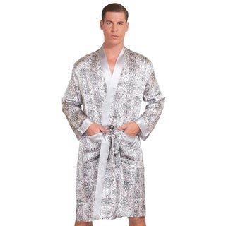 MYK SILK - Men's Mulberry Silk Robe Printed Bath Sleepwear Classic