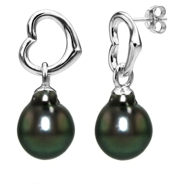 44301e12306a0 Shop DaVonna Heart Shape Sterling Silver 8-9mm Black Tahitian Pearl ...