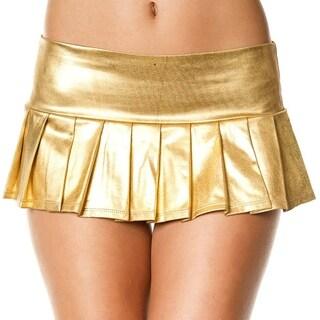 Metallic Pleated Mini Skirt