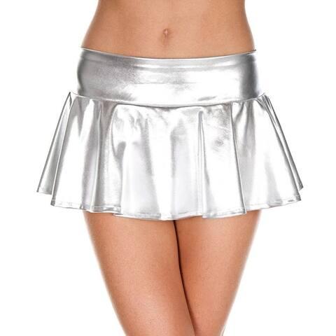 Wet Look Metallic Mini Skirt