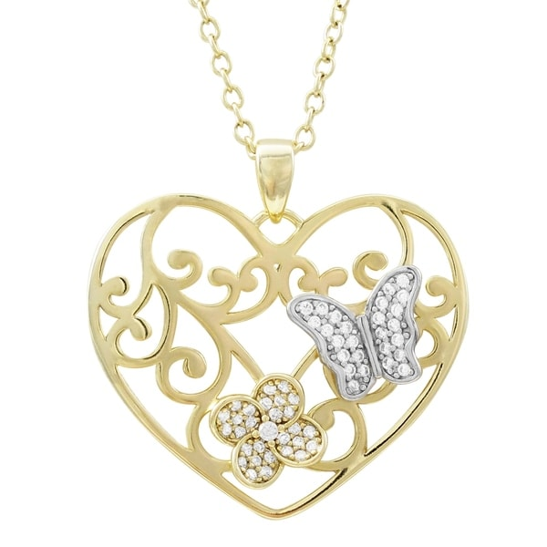 Luxiro Sterling Silver Two-tone Finish Cubic Zirconia Open Heart Pendant Necklace. Opens flyout.